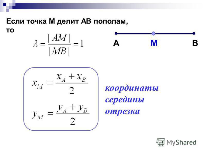 АВ Если точка М делит АВ пополам, то М координаты середины отрезка