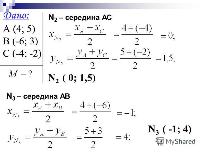 Дано: А (4; 5) В (-6; 3) С (-4; -2) N 2 – середина АС N 2 ( 0; 1,5) N 3 – середина АВ N 3 ( -1; 4)