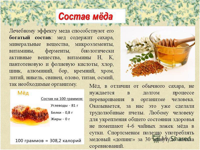Состав мёда Лечебному эффекту меда способствуют его богатый состав: мед содержит сахара, минеральные вещества, микроэлементы, витамины, ферменты, биологически активные вещества, витамины Н, К, пантотеновую и фолиевую кислоты, хлор, цинк, алюминий, бо