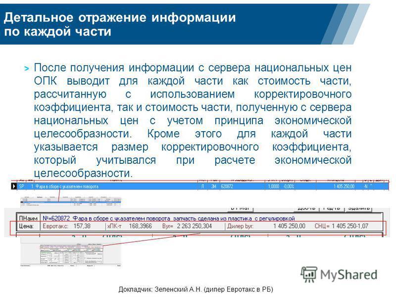 Детальное отражение информации по каждой части Докладчик: Зеленский А.Н. (дилер Евротакс в РБ) После получения информации с сервера национальных цен ОПК выводит для каждой части как стоимость части, рассчитанную с использованием корректировочного коэ