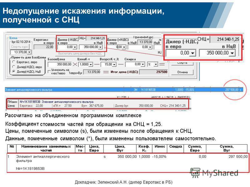 Недопущение искажения информации, полученной с СНЦ Докладчик: Зеленский А.Н. (дилер Евротакс в РБ)