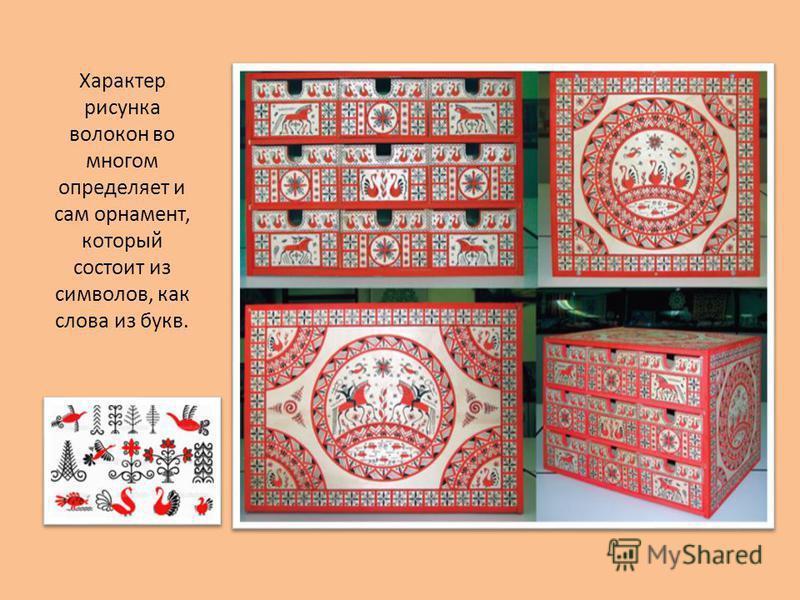 Характер рисунка волокон во многом определяет и сам орнамент, который состоит из символов, как слова из букв.