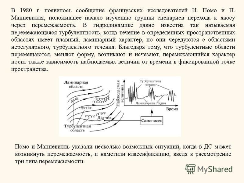 В 1980 г. появилось сообщение французских исследователей И. Помо и П. Манневилля, положившее начало изучению группы сценариев перехода к хаосу через перемежаемость. В гидродинамике давно известна так называемая перемежающаяся турбулентность, когда те