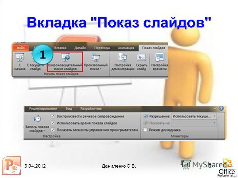 6.04.2012Даниленко О.В.9 Вкладка Показ слайдов
