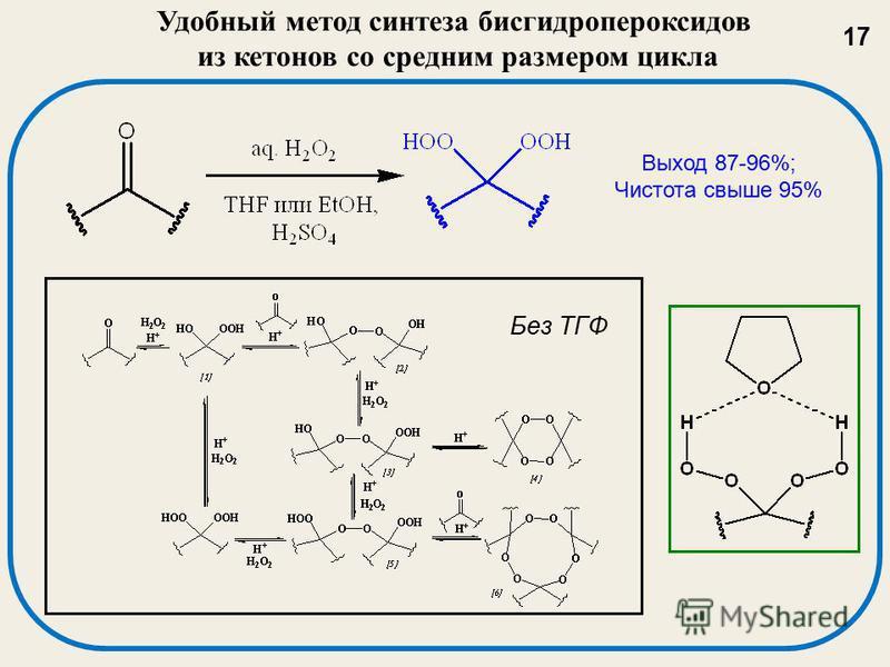 Удобный метод синтеза бисгидропероксидов из кетонов со средним размером цикла Без ТГФ Выход 87-96%; Чистота свыше 95% 17