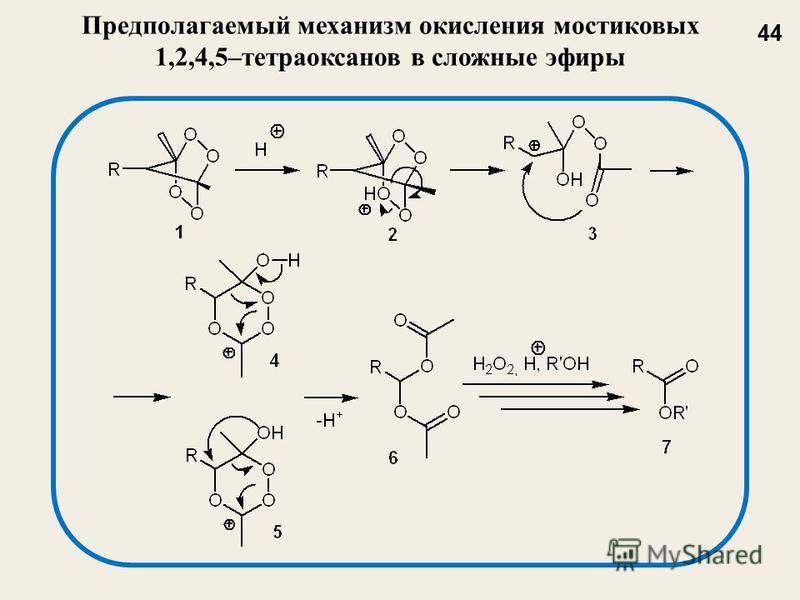 Предполагаемый механизм окисления мостиковых 1,2,4,5–тетраоксанов в сложные эфиры 44