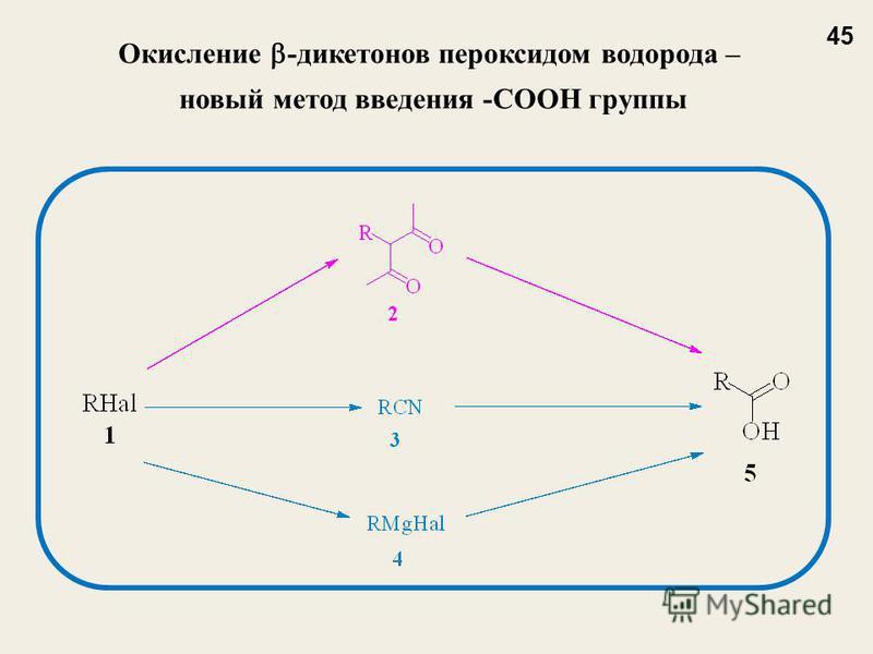 Окисление -дикетонов пероксидом водорода – новый метод введения -COOH группы 45
