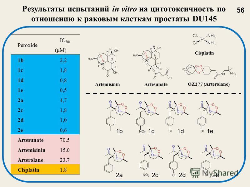 Результаты испытаний in vitro на цитотоксичность по отношению к раковым клеткам простаты DU145 Peroxide IC 50, (μM) 1b2,2 1c1,8 1d0,8 1e0,5 2a4,7 2c1,8 2d1,0 2e0,6 Artesunate70.5 Artemisinin15.0 Arterolane23.7 Cisplatin1.8 ArtesunateArtemisinin OZ277