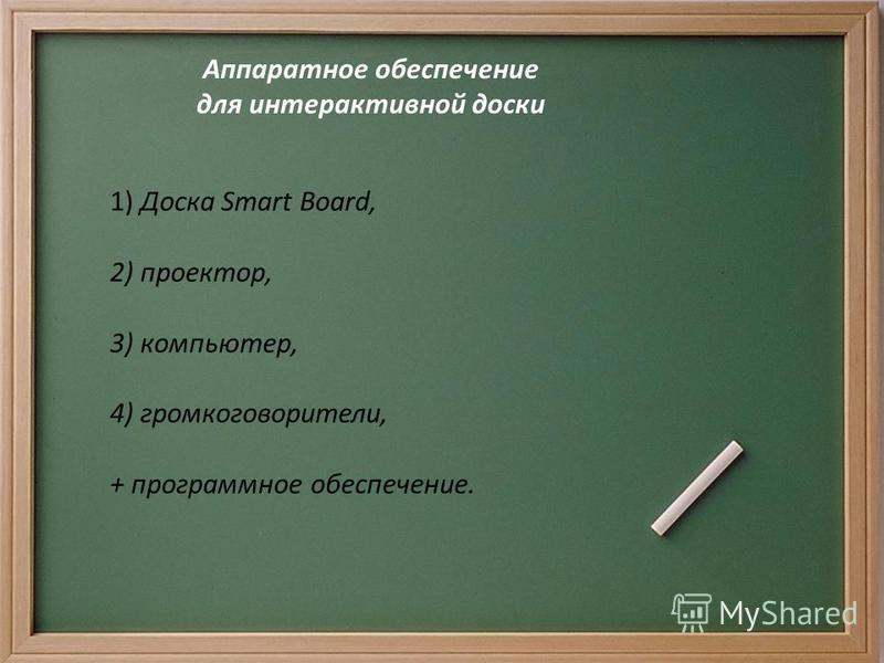Аппаратное обеспечение для интерактивной доски 1) Доска Smart Board, 2) проектор, 3) компьютер, 4) громкоговорители, + программное обеспечение.