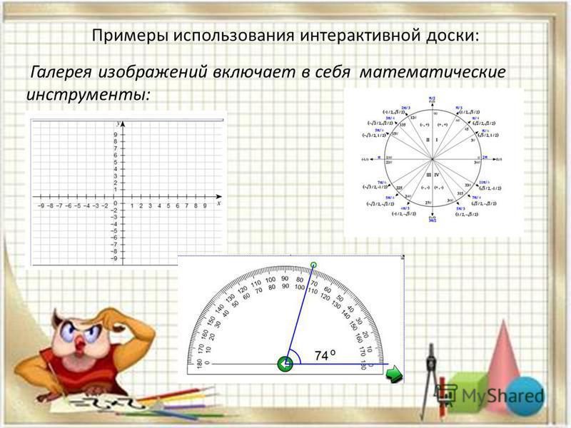 Примеры использования интерактивной доски: Галерея изображений включает в себя математические инструменты: