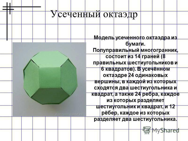 Усеченный октаэдр Модель усеченного октаэдра из бумаги. Полуправильный многогранник, состоит из 14 граней (8 правильных шестиугольников и 6 квадратов). В усечённом октаэдре 24 одинаковых вершины, в каждой из которых сходятся два шестиугольника и квад