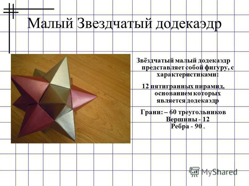 Малый Звездчатый додекаэдр Звёздчатый малый додекаэдр представляет собой фигуру, с характеристиками: 12 пятигранных пирамид, основанием которых является додекаэдр Грани: – 60 треугольников Вершины - 12 Ребра - 90.
