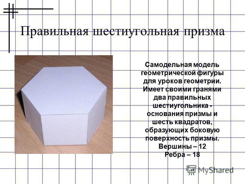 Правильная шестиугольная призма Самодельная модель геометрической фигуры для уроков геометрии. Имеет своими гранями два правильных шестиугольника - основания призмы и шесть квадратов, образующих боковую поверхность призмы. Вершины – 12 Ребра – 18