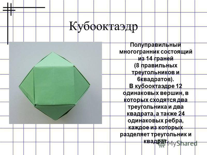 Кубооктаэдр Полуправильный многогранник состоящий из 14 граней (8 правильных треугольников и 6 квадратов). В кубооктаэдре 12 одинаковых вершин, в которых сходятся два треугольника и два квадрата, а также 24 одинаковых ребра, каждое из которых разделя