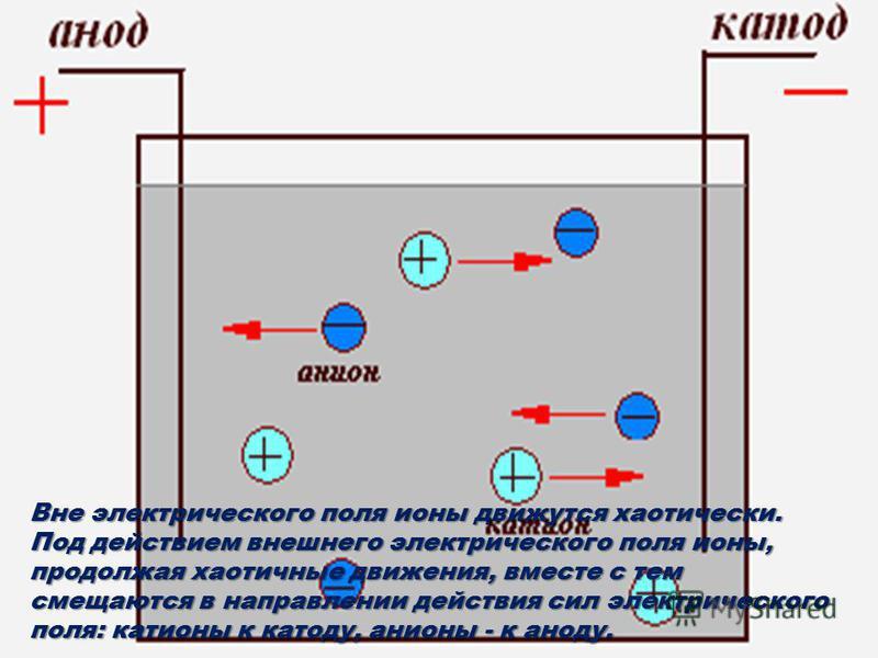 Вне электрического поля ионы движутся хаотически. Под действием внешнего электрического поля ионы, продолжая хаотичные движения, вместе с тем смещаются в направлении действия сил электрического поля: катионы к катоду, анионы - к аноду.