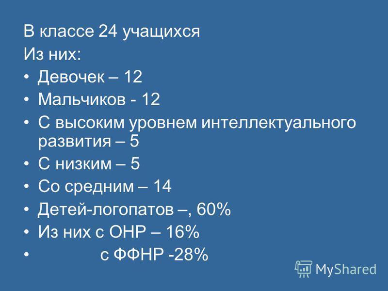 В классе 24 учащихся Из них: Девочек – 12 Мальчиков - 12 С высоким уровнем интеллектуального развития – 5 С низким – 5 Со средним – 14 Детей-логопатов –, 60% Из них с ОНР – 16% с ФФНР -28%
