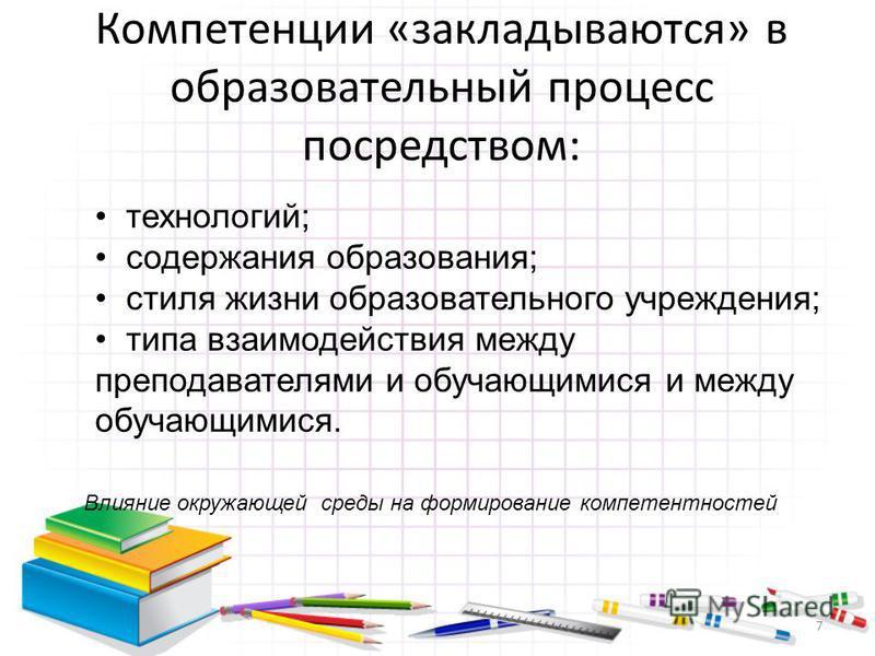 Компетенции «закладываются» в образовательный процесс посредством: технологий; содержания образования; стиля жизни образовательного учреждения; типа взаимодействия между преподавателями и обучающимися и между обучающимися. 7 Влияние окружающей среды