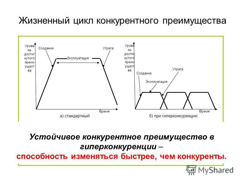 Жизненный цикл конкурентного преимущества Время Урове нь достигнутого преимущества Эксплуатация Создание Утрата Эксплуатация Создание Утрата Время Урове нь достигнутого преимущества Устойчивое конкурентное преимущество в гиперконкуренции – способност