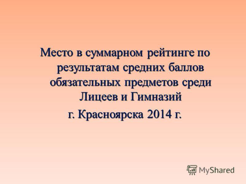 Место в суммарном рейтинге по результатам средних баллов обязательных предметов среди Лицеев и Гимназий г. Красноярска 2014 г.