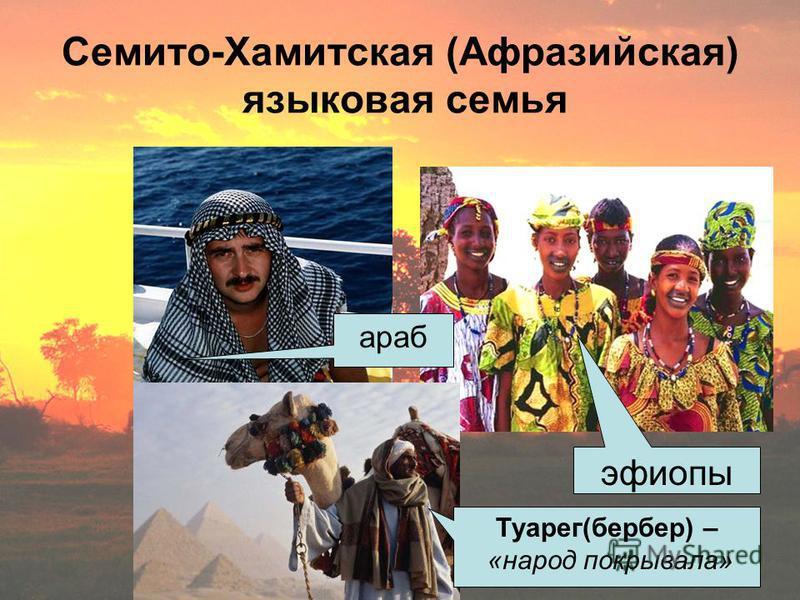 Семито-Хамитская (Афразийская) языковая семья араб эфиопы Туарег(бербер) – «народ покрывала»