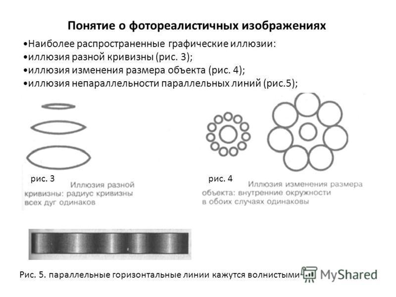 Понятие о фотореалистичных изображениях Наиболее распространенные графические иллюзии: иллюзия разной кривизны (рис. 3); иллюзия изменения размера объекта (рис. 4); иллюзия непараллельности параллельных линий (рис.5); Рис. 5. параллельные горизонталь