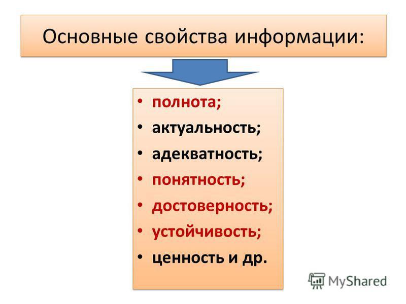 Основные свойства информации: полнота; актуальность; адекватность; понятность; достоверность; устойчивость; ценность и др. полнота; актуальность; адекватность; понятность; достоверность; устойчивость; ценность и др.