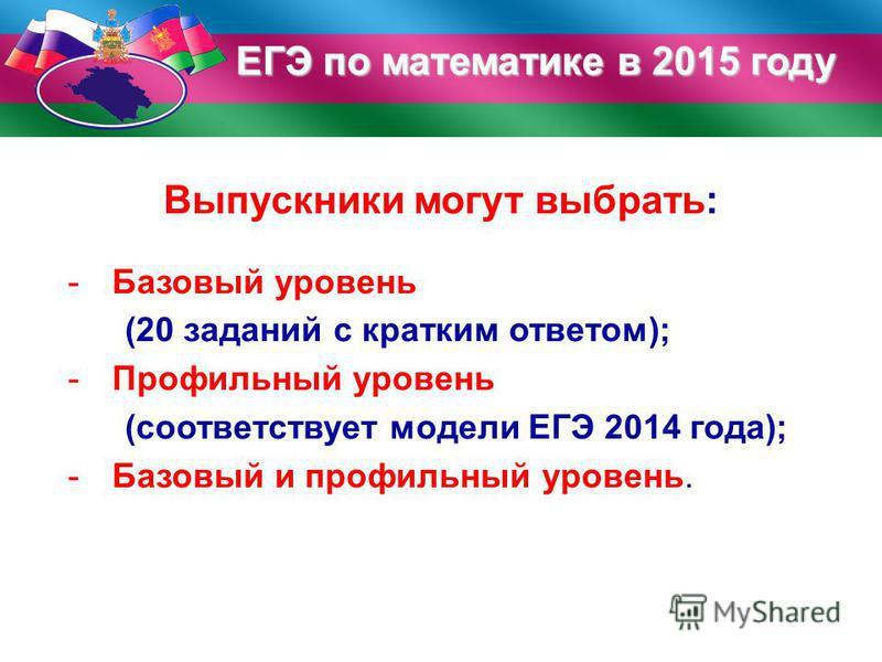 ЕГЭ по математике в 2015 году Выпускники могут выбрать: -Базовый уровень (20 заданий с кратким ответом); -Профильный уровень (соответствует модели ЕГЭ 2014 года); -Базовый и профильный уровень.