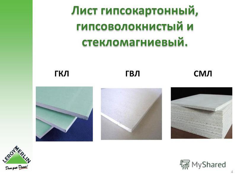 4 Лист гипсокартонный, гипсоволокнистый и стекломагниевый. ГКЛГВЛСМЛ