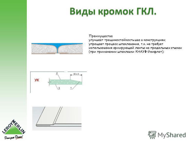 Виды кромок ГКЛ. Преимущества улучшает трещиностойкость шва в конструкциях; упрощает процесс шпаклевания, т.к. не требует использования армирующей ленты на продольных стыках (при применении шпаклевки КНАУФ-Унифлот);
