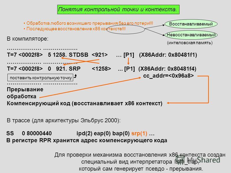 Понятия контрольной точки и контекста. Обработка любого возникшего прерывания без его потери!!! Последующее восстановление x86 контекста!!! Невосстанавливаемый Восстанавливаемый поставить контрольную точку (интеловская память) В компиляторе: ……………… T