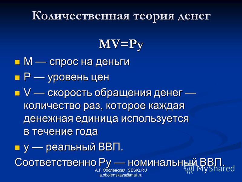 А.Г. Оболенская SBSIQ.RU a.obolenskaya@mail.ru Количественная теория денег MV=Py M спрос на деньги M спрос на деньги Р уровень цен Р уровень цен V скорость обращения денег количество раз, которое каждая денежная единица используется в течение года V