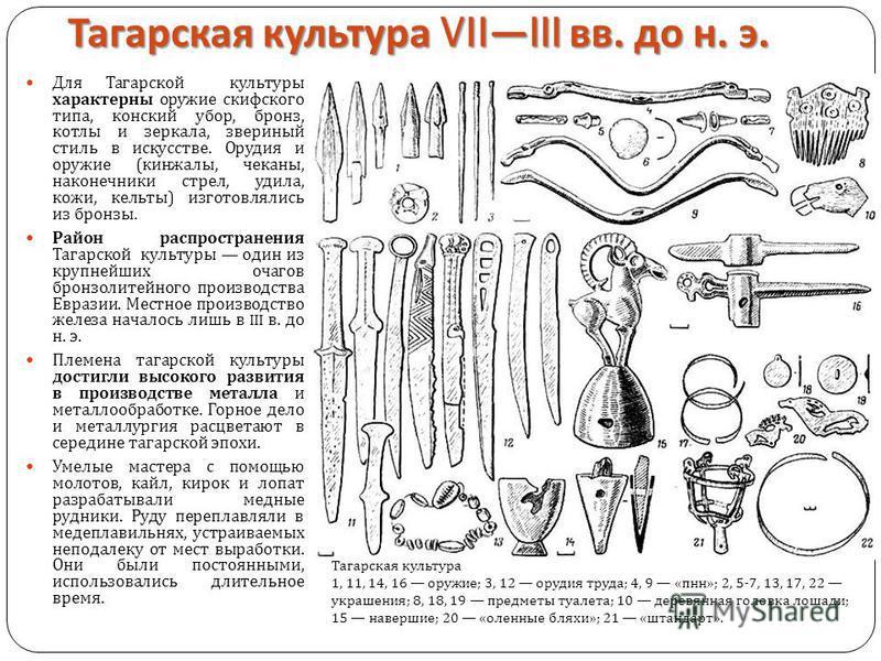 Тагарская культура VIIIII вв. до н. э. Для Тагарской культуры характерны оружие скифского типа, конский убор, бронз, котлы и зеркала, звериный стиль в искусстве. Орудия и оружие ( кинжалы, чеканы, наконечники стрел, удила, кожи, кельты ) изготовлялис