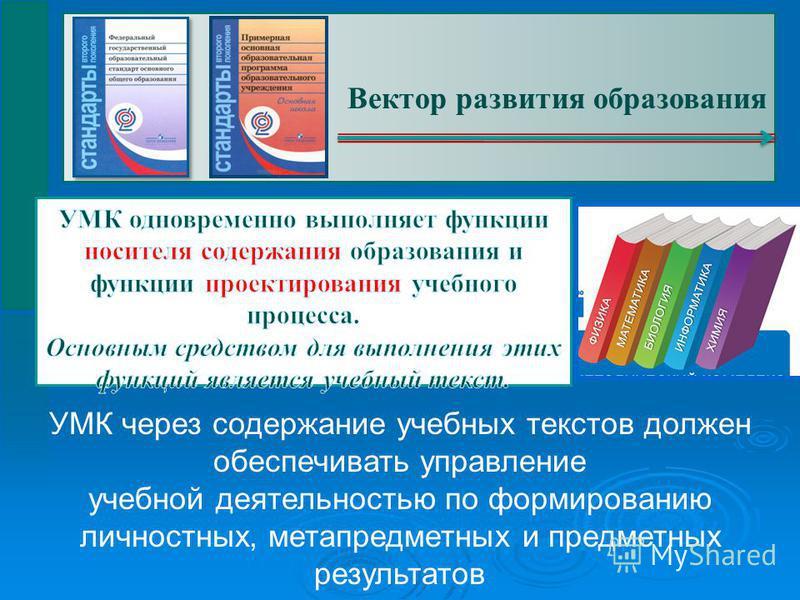 Вектор развития образования УМК через содержание учебных текстов должен обеспечивать управление учебной деятельностью по формированию личностных, метапредметных и предметных результатов