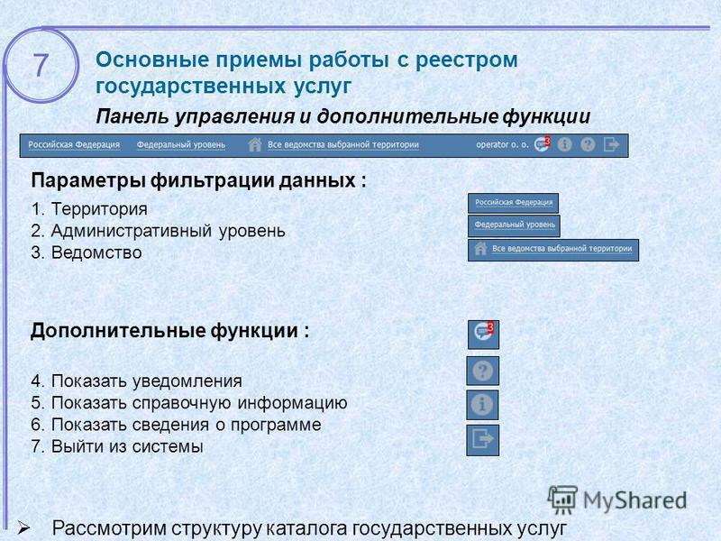 Основные приемы работы с реестром государственных услуг Панель управления и дополнительные функции Параметры фильтрации данных : 1. Территория 2. Административный уровень 3. Ведомство Рассмотрим структуру каталога государственных услуг 7 Дополнительн