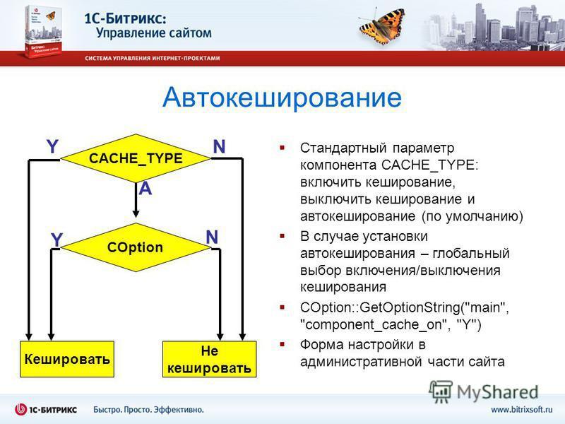 Автокэширование CACHE_TYPE COption Кешировать Не кэшировать YN A Y N Стандартный параметр компонента CACHE_TYPE: включить кэширование, выключить кэширование и автокэширование (по умолчанию) В случае установки автокэширования – глобальный выбор включе