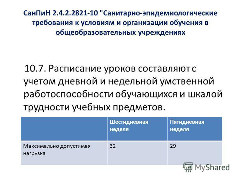 Сан ПиН 2.4.2.2821-10