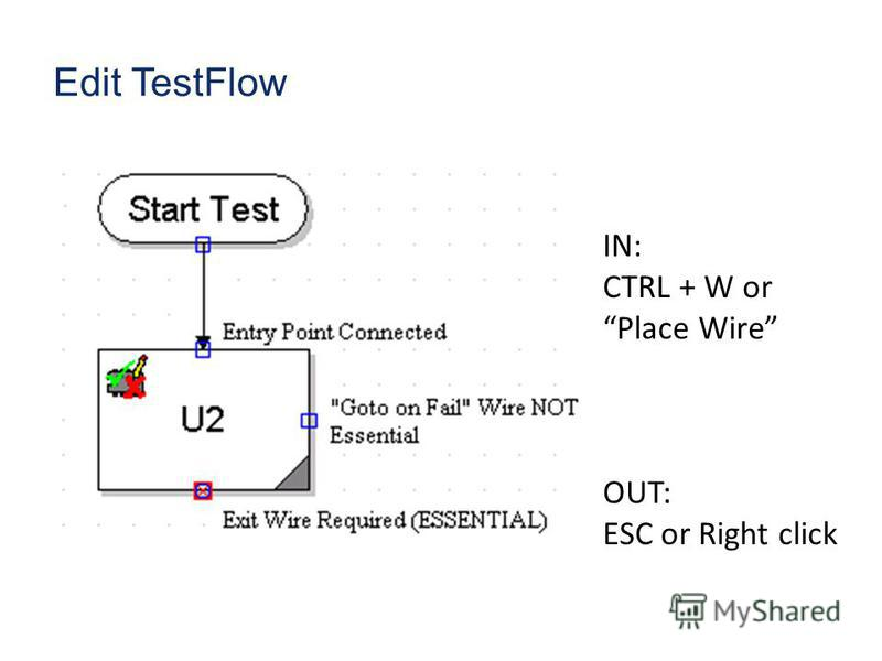 Edit TestFlow IN: CTRL + W or Place Wire OUT: ESC or Right click