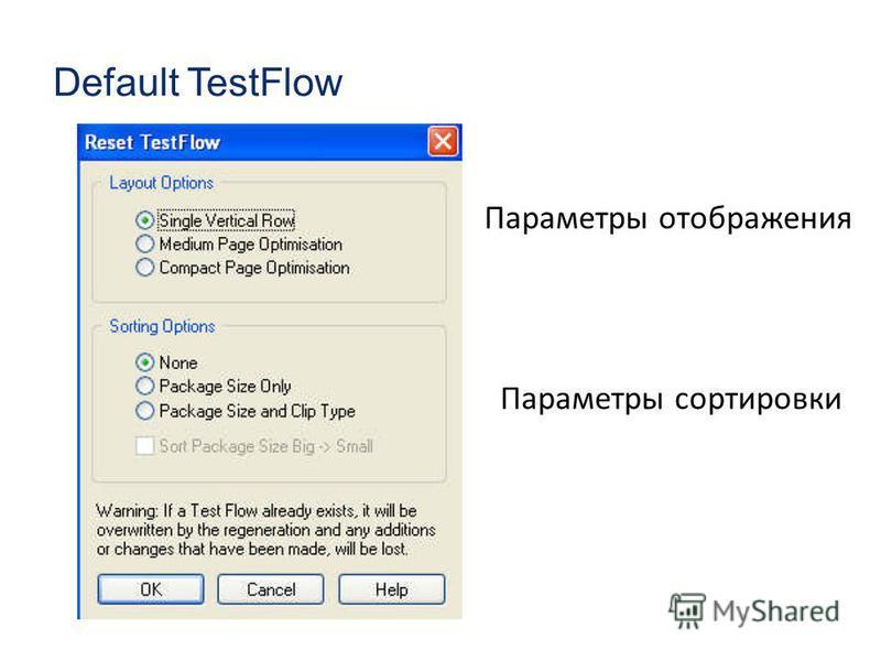Default TestFlow Параметры отображения Параметры сортировки