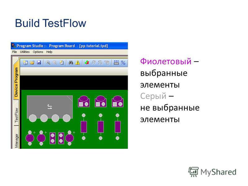 Build TestFlow Фиолетовый – выбранные элементы Серый – не выбранные элементы