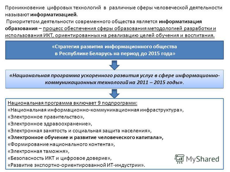 «Стратегия развития информационного общества в Республике Беларусь на период до 2015 года» Проникновение цифровых технологий в различные сферы человеческой деятельности называют информатизацией. Приоритетом деятельности современного общества является
