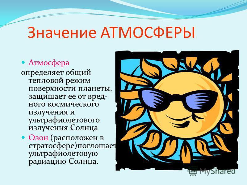 Значение АТМОСФЕРЫ Атмосфера определяет общий тепловой режим поверхности планеты, защищает ее от вредного космического излучения и ультрафиолетового излучения Солнца Озон (расположен в стратосфере)поглощает ультрафиолетовую радиацию Солнца.