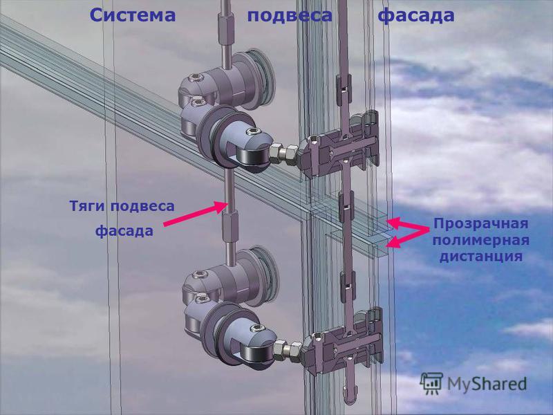 Тяги подвеса фасада Система подвеса фасада Прозрачная полимерная дистанция