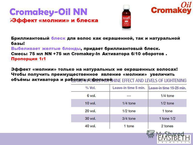Cromakey-Oil NN Эффект «молнии» и блеска Бриллиантовый блеск для волос как окрашенной, так и натуральной базы! Выбеливает желтые блонды, придает бриллиантовый блеск. Смесь: 75 мл NN +75 мл Cromakey-In Активатора 6/10 оборотов. Пропорция 1:1 Эффект «м