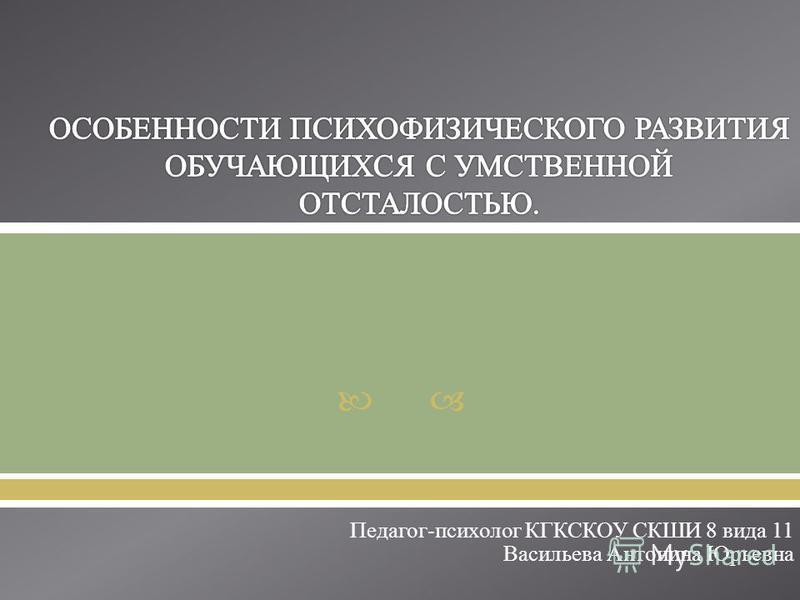 Педагог - психолог КГКСКОУ СКШИ 8 вида 11 Васильева Антонина Юрьевна