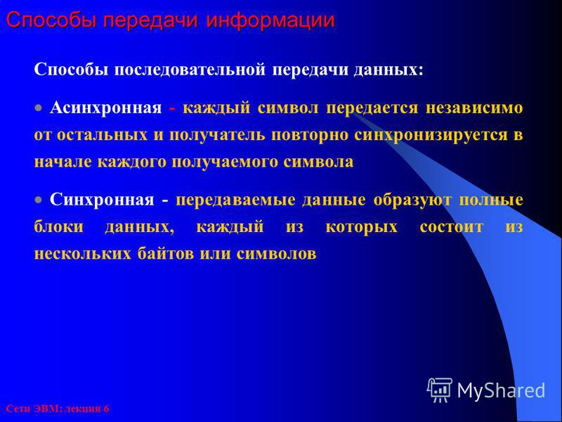 Сети ЭВМ: лекция 6 Способы передачи информации Способы последовательной передачи данных: Асинхронная - каждый символ передается независимо от остальных и получатель повторно синхронизируется в начале каждого получаемого символа Синхронная - передавае
