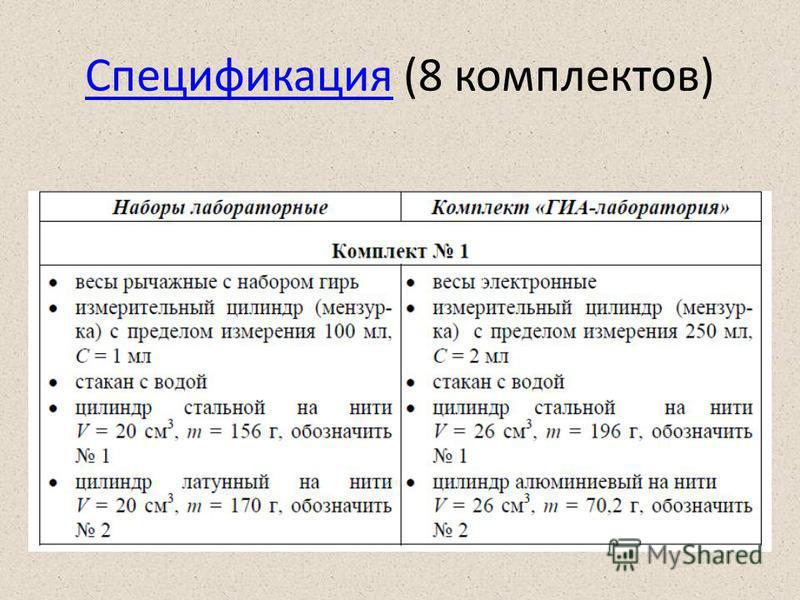 Спецификация (8 комплектов)