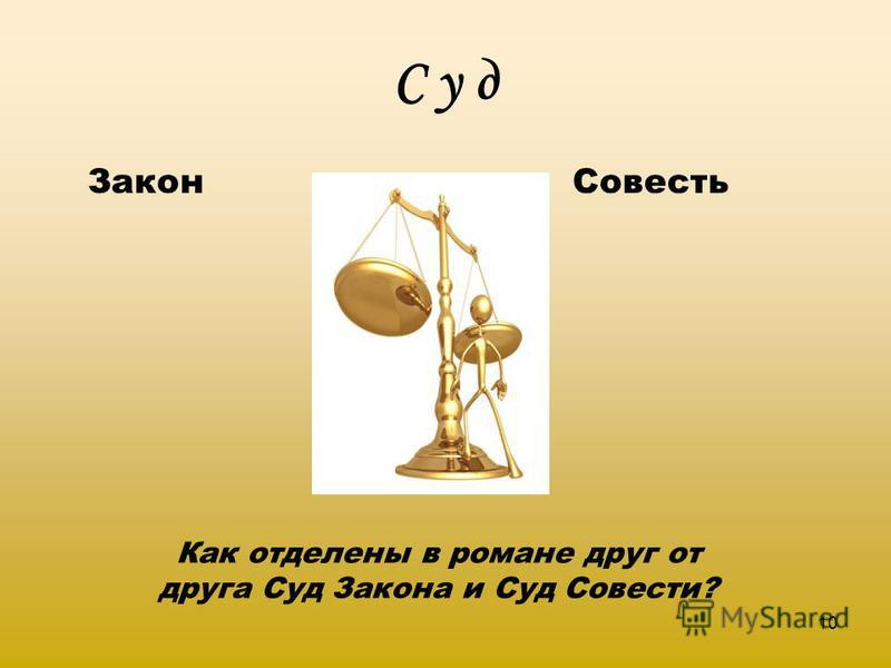 С у д Закон Совесть 10 Как отделены в романе друг от друга Суд Закона и Суд Совести?