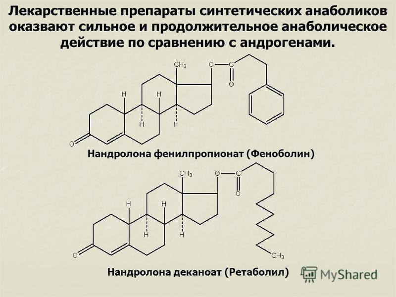 Лекарственные препараты синтетических анаболиков оказывают сильное и продолжительное анаболическое действие по сравнению с андрогенами. Нандролона фенилпропионат (Феноболин) Нандролона деканоат (Ретаболил)