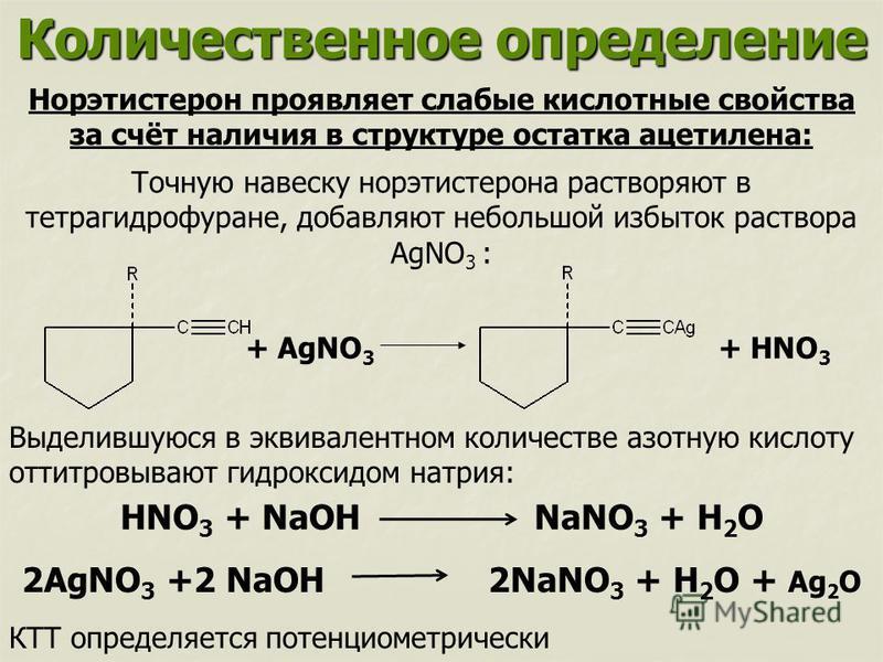 Количественное определение Норэтистерон проявляет слабые кислотные свойства за счёт наличия в структуре остатка ацетилена: Точную навеску норэтистерона растворяют в тетрагидрофуране, добавляют небольшой избыток раствора AgNO 3 : + AgNO 3 + HNO 3 Выде