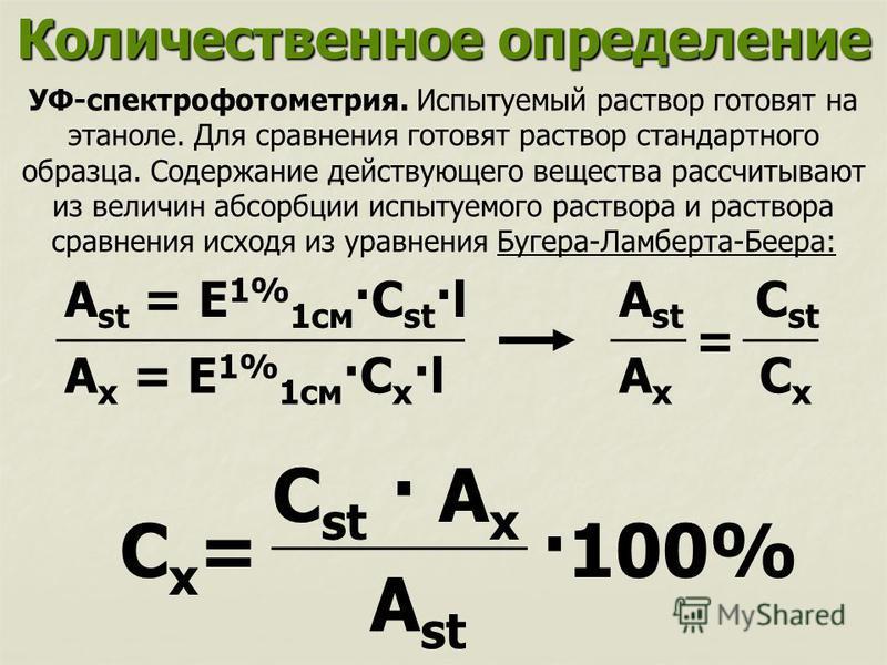 Количественное определение УФ-спектрофотометрия. Испытуемый раствор готовят на этаноле. Для сравнения готовят раствор стандартного образца. Содержание действующего вещества рассчитывают из величин абсорбции испытуемого раствора и раствора сравнения и